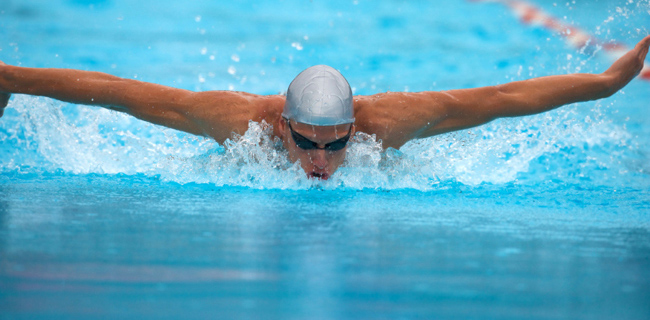 Swimmer in butterfly during a competition